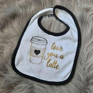 💜3/$10 Love you a latte bib ☕
